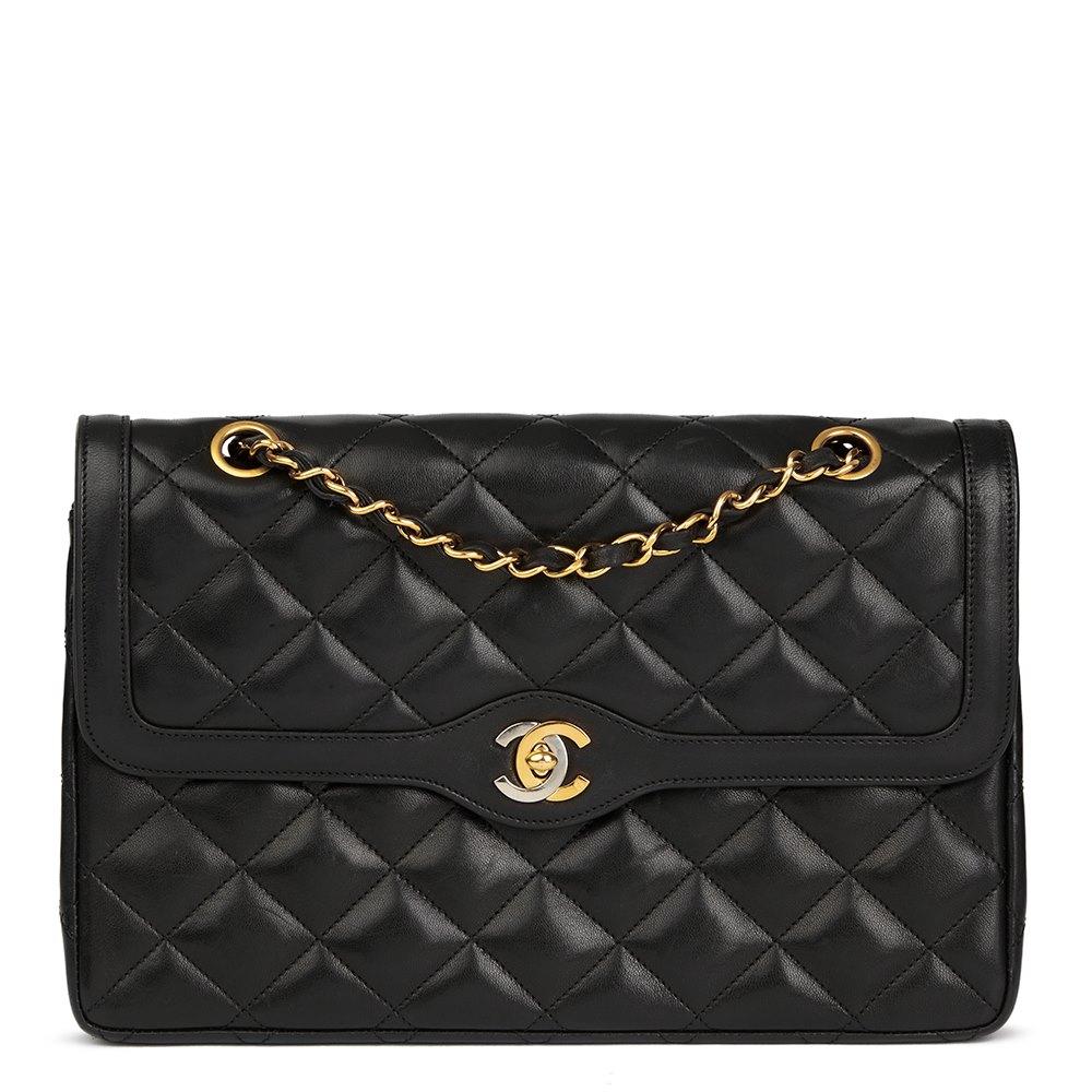d5c112202c38 Chanel Black Quilted Lambskin Vintage Large Paris Limited Double Flap Bag