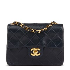 Chanel Navy Quilted Lambskin Vintage Mini Flap Bag