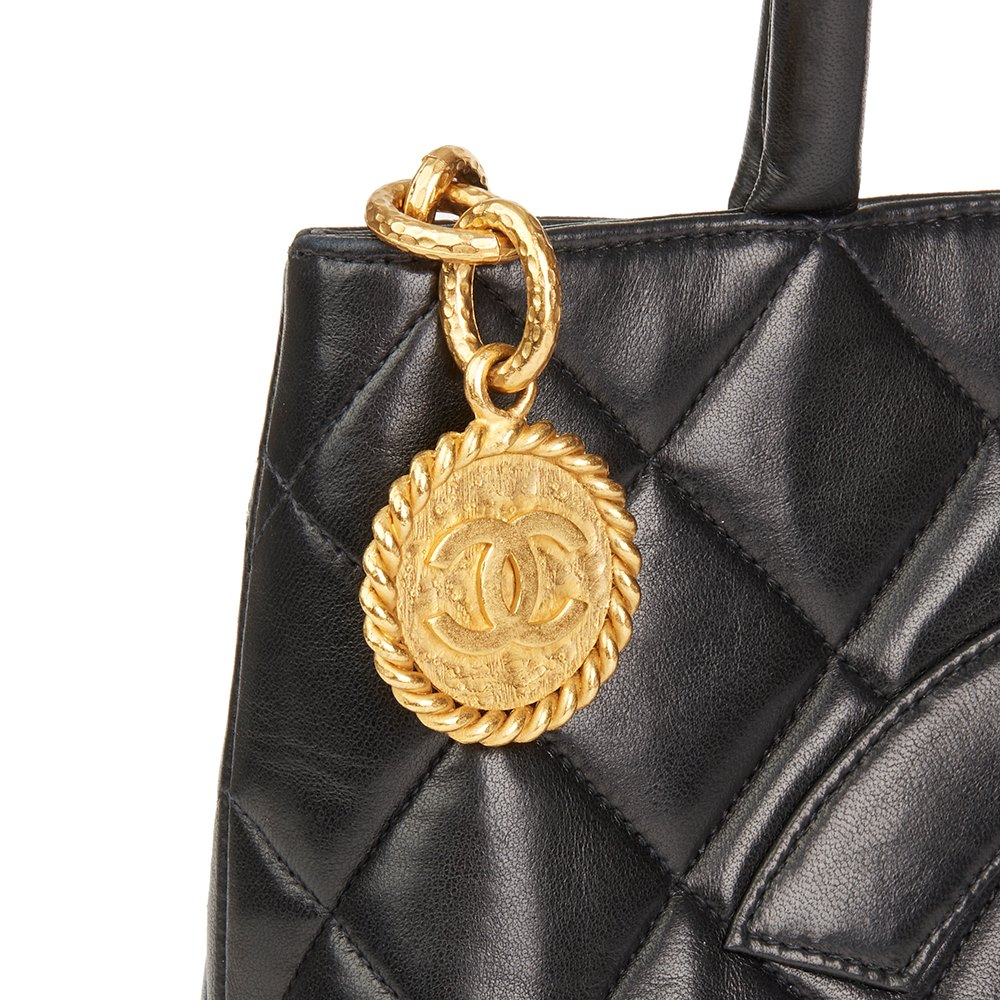 c49d3b2c76c2 Chanel Black Quilted Lambskin Vintage Medallion Tote