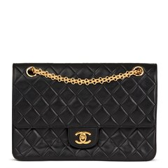 Chanel Black Quilted Lambskin Vintage Classic Double Flap Bag