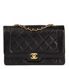 Chanel Black Quilted Lambskin Vintage Medium Classic Diana Flap Bag