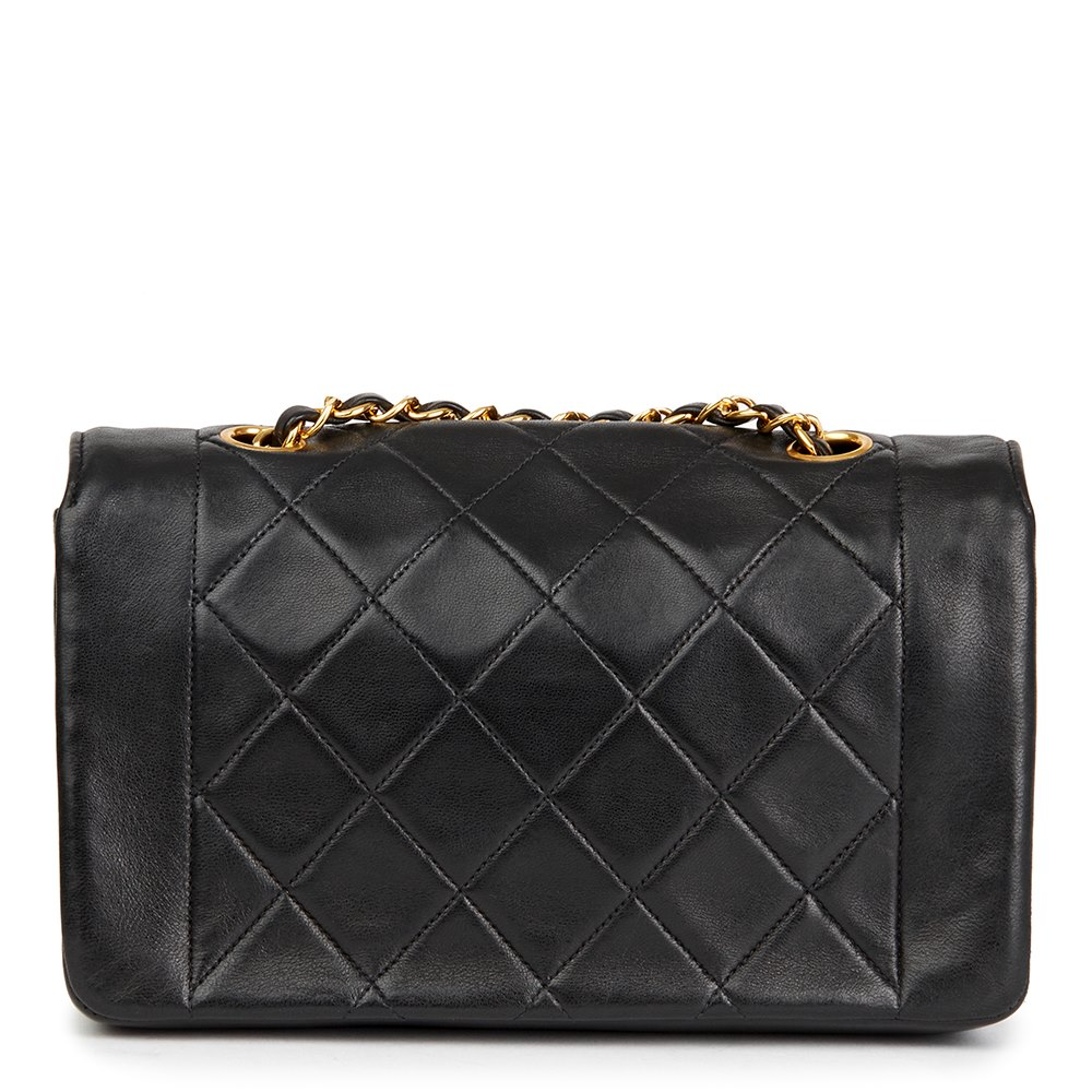 eeefc9a5e1 Black Quilted Lambskin Vintage Small Diana Classic Single Flap Bag