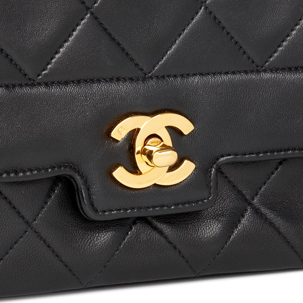 a5f02fbf8ea3 Chanel Black Quilted Lambskin Vintage Small Diana Classic Single Flap Bag
