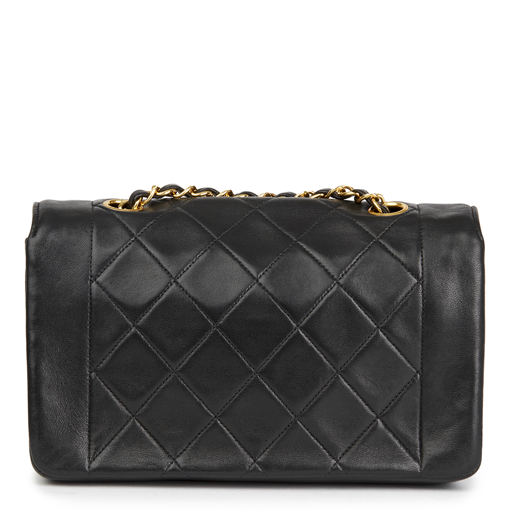 Chanel Black Quilted Lambskin Vintage Small Diana Classic