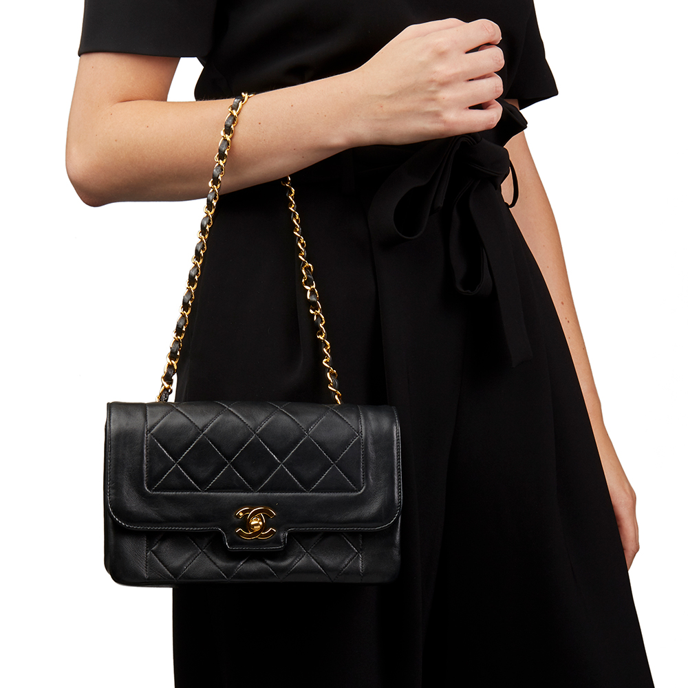 b12493144c79fd Chanel Black Quilted Lambskin Vintage Small Diana Classic Single Flap Bag