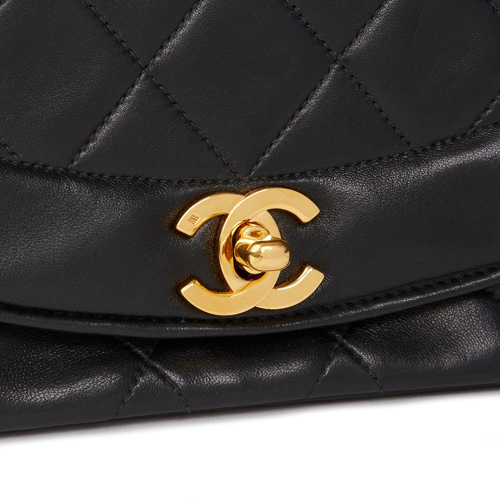 5361e02781db Chanel Black Quilted Lambskin Vintage Small Diana Classic Single Flap Bag