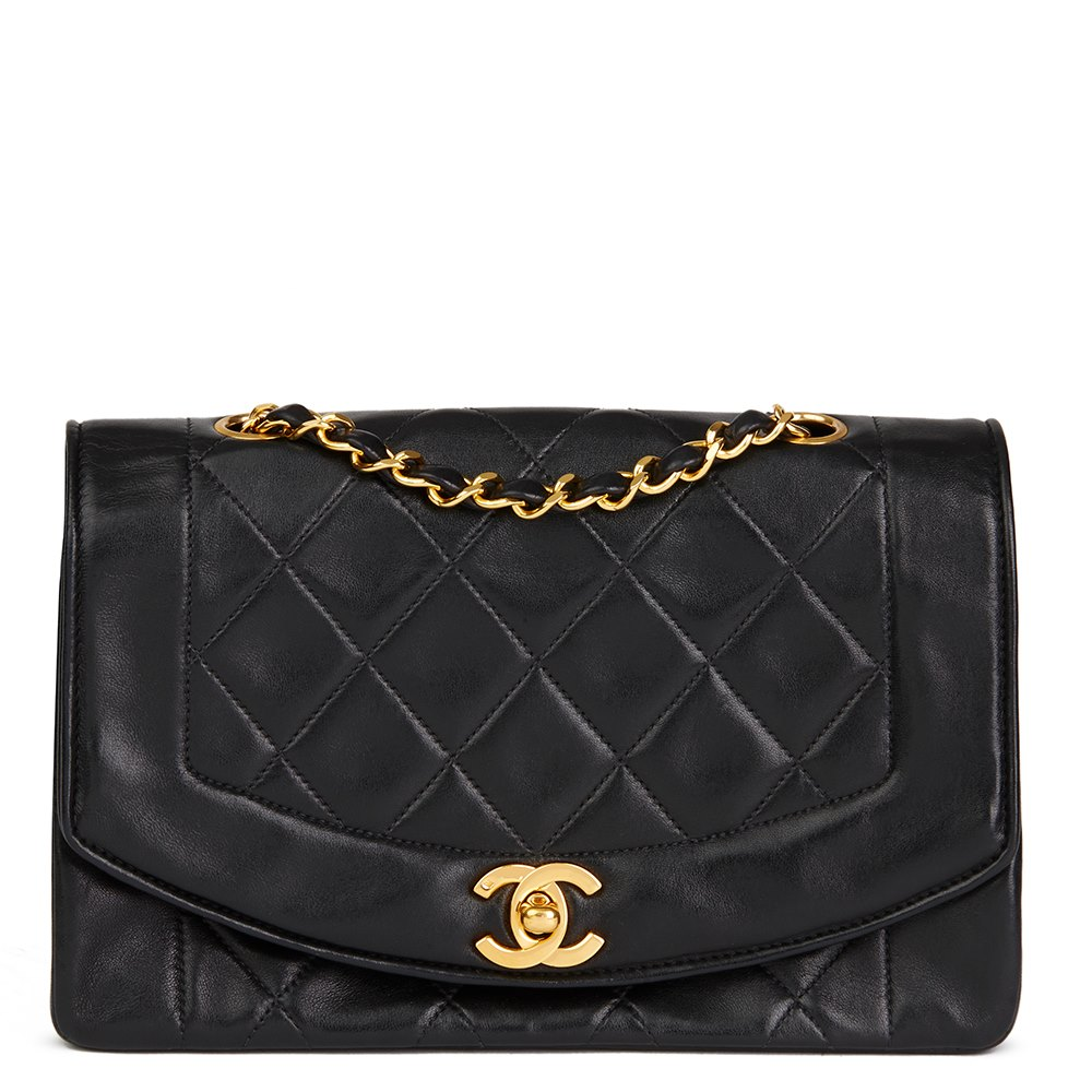 d301e4bfc47e Chanel Black Quilted Lambskin Vintage Small Diana Classic Single Flap Bag