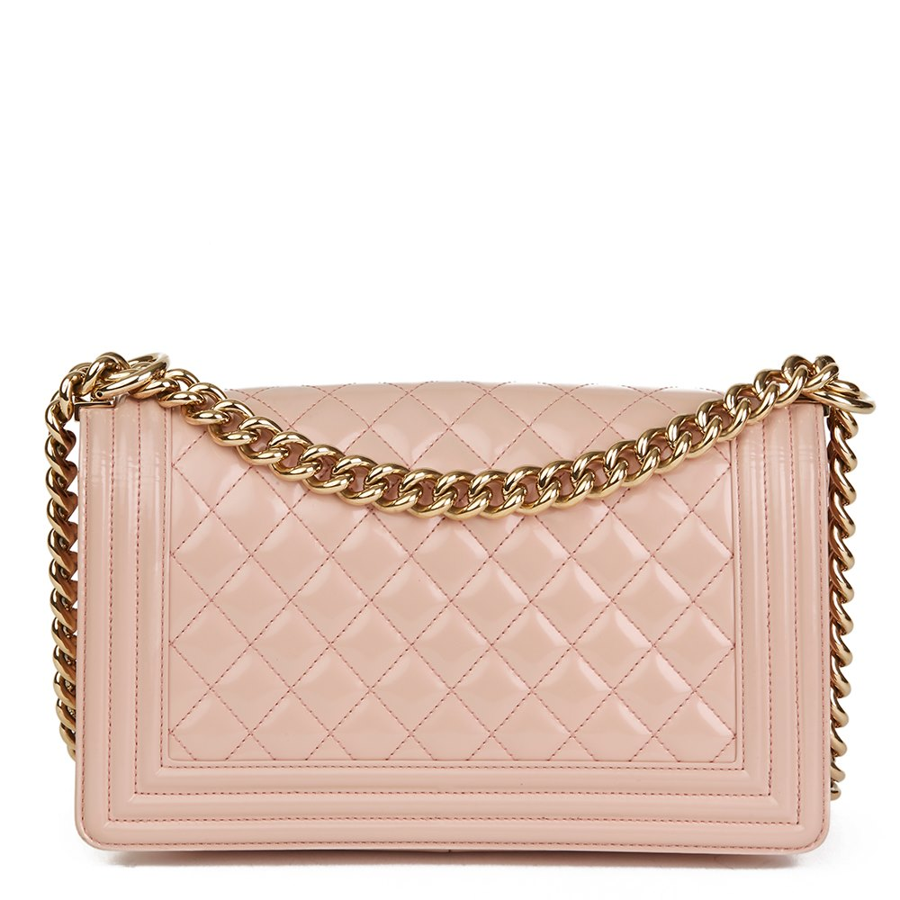 c5109779d19635 Chanel Light Pink Quilted Iridescent Calfskin Leather Medium Le Boy