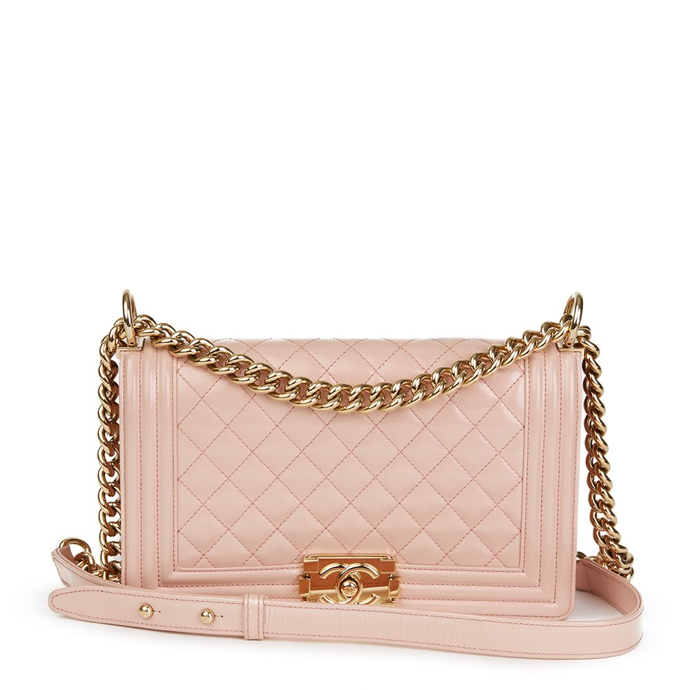 33c9fb56a28f Chanel Light Pink Quilted Iridescent Calfskin Leather Medium Le Boy