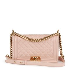 Chanel Light Pink Quilted Iridescent Calfskin Leather Medium Le Boy