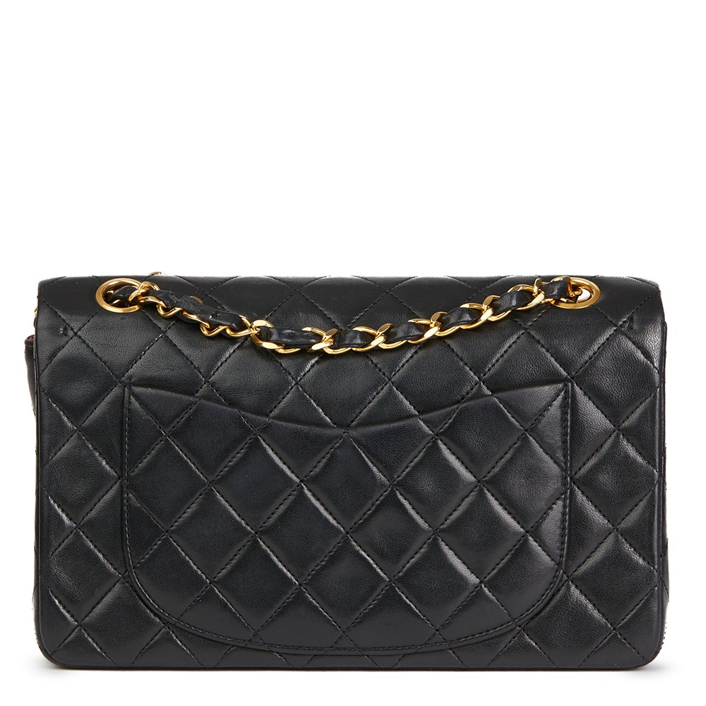 Chanel Black Quilted Lambskin Vintage Small Classic Double Flap ... 30b43c9cd3623