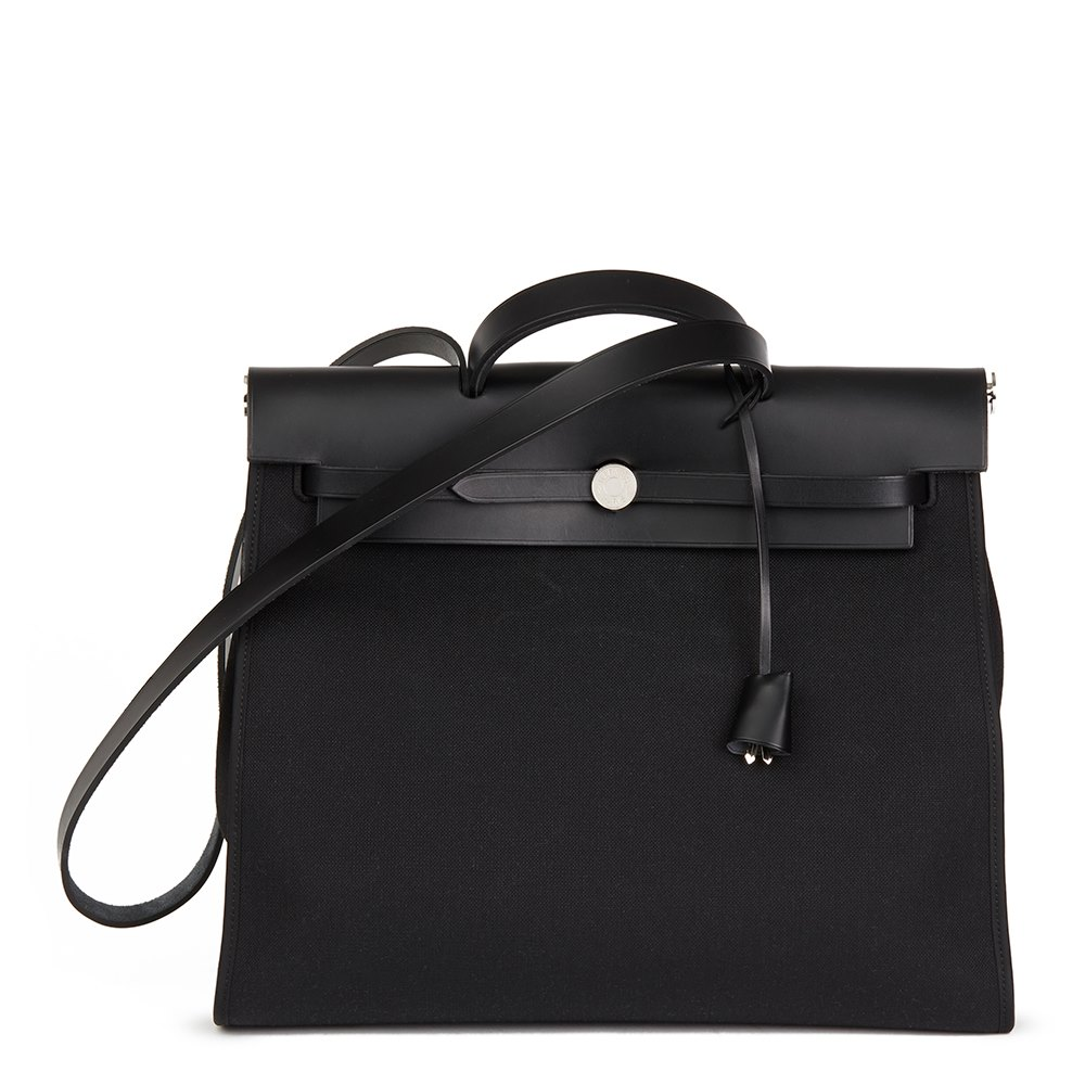 6eadd2e833d1 Hermès Black Vache Hunter Cowhide Leather   Canvas Herbag Zip 39