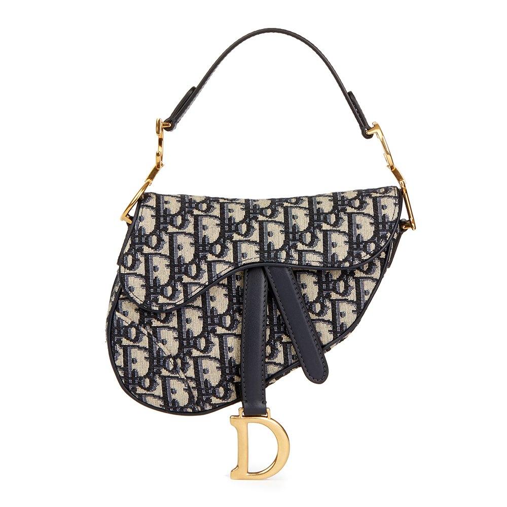 346b5712cbe2 Christian Dior Blue Oblique Monogram Canvas Mini Saddle Bag