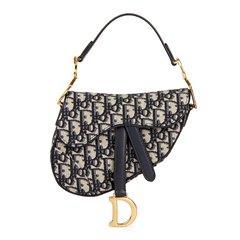 Christian Dior Blue Oblique Monogram Canvas Mini Saddle Bag