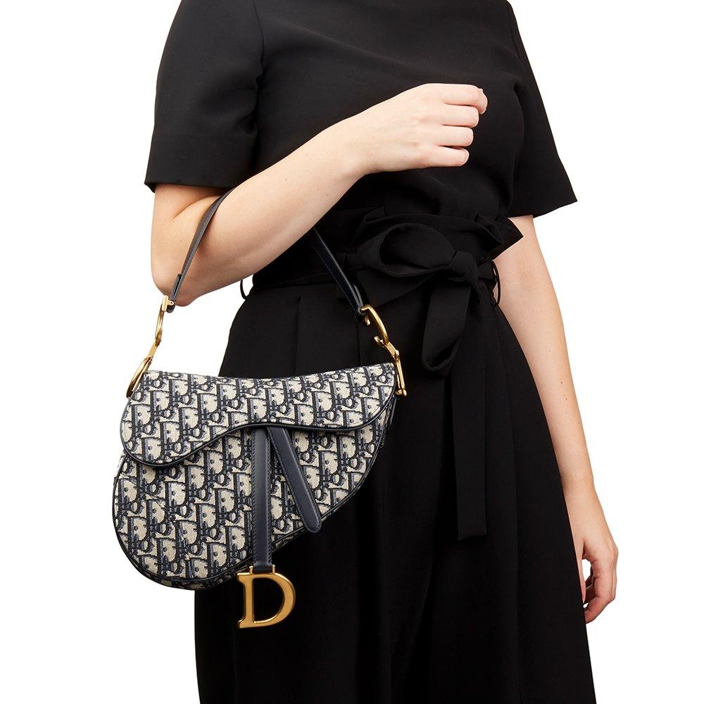 ef5a4d073ece2 Christian Dior Blue Oblique Monogram Canvas Saddle Bag