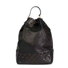 Chanel Black Quilted Lambskin Vintage Timeless Backpack