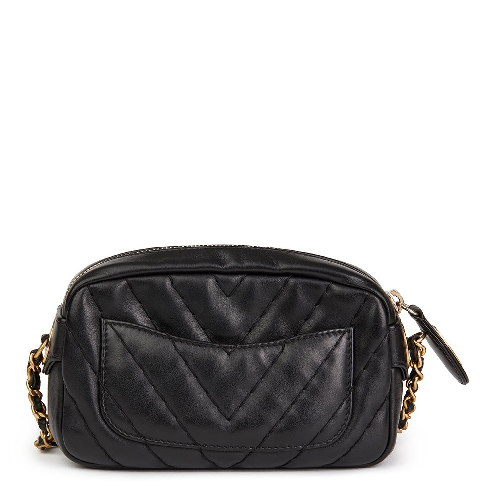 8553e4e7772b Chanel Black Chevron Quilted Calfskin Leather Mini Medallion Charm Camera  Bag