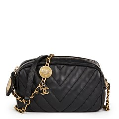 Chanel Black Chevron Quilted Calfskin Leather Mini Medallion Charm Camera Bag