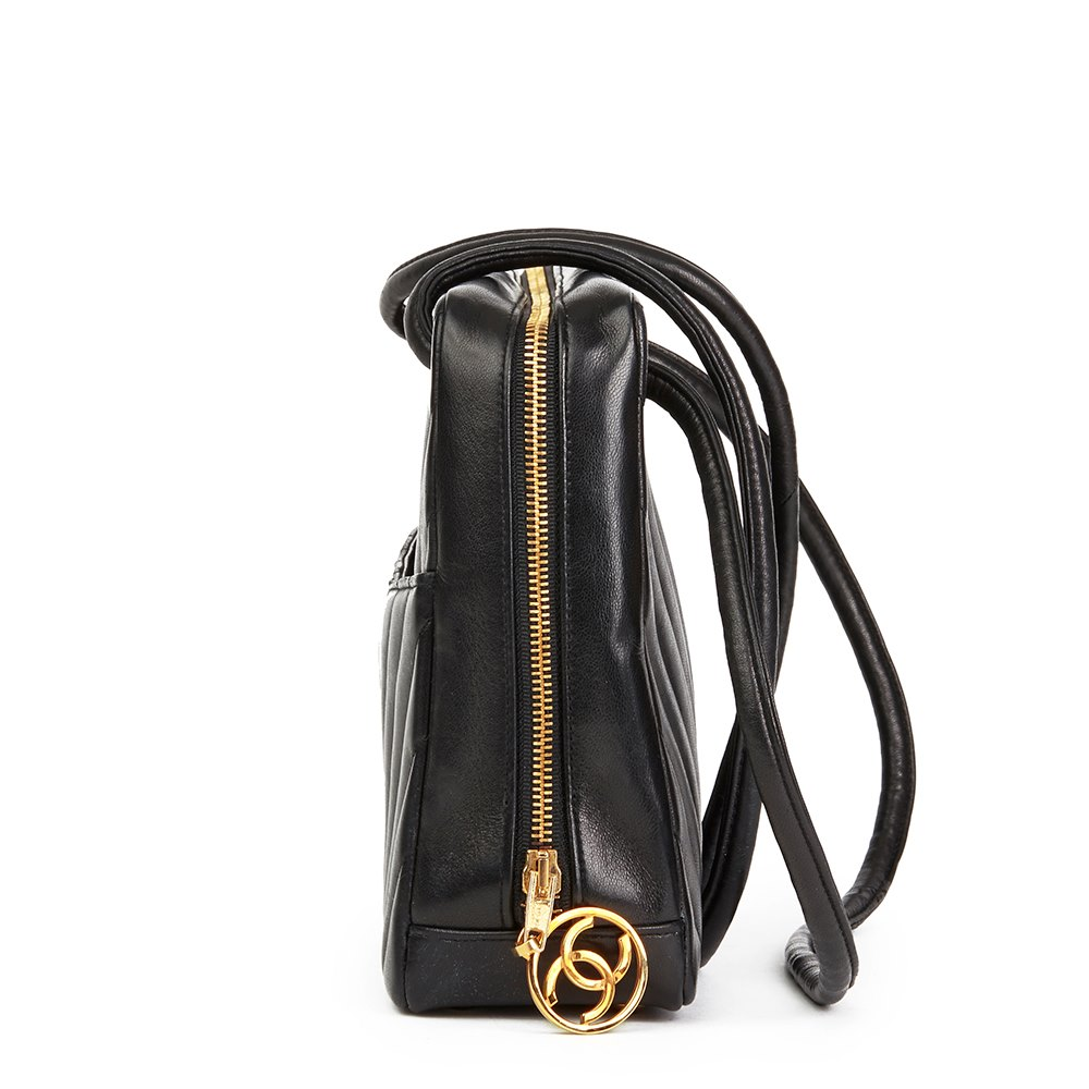 f0b09f307397 Chanel Black Chevron Quilted Lambskin Vintage Timeless Shoulder Bag