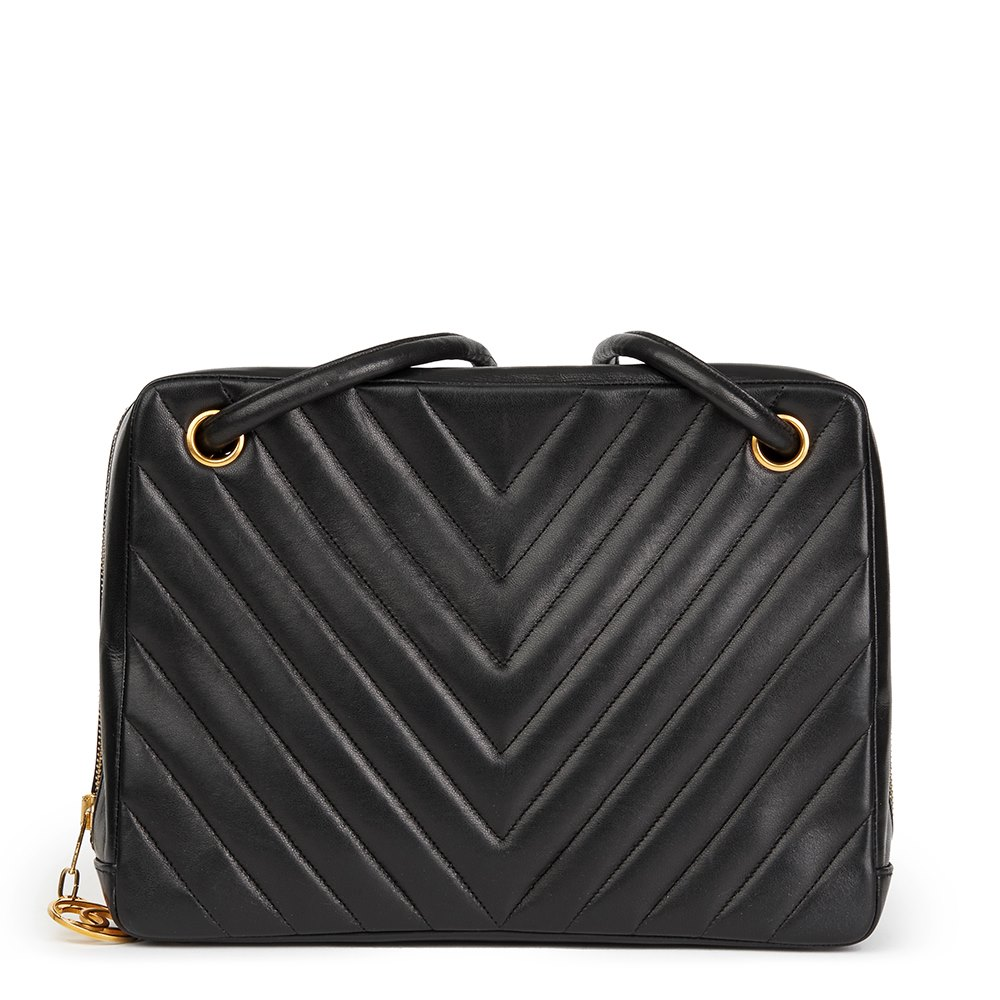 adbe67677c63e Chanel Black Chevron Quilted Lambskin Vintage Timeless Shoulder Bag
