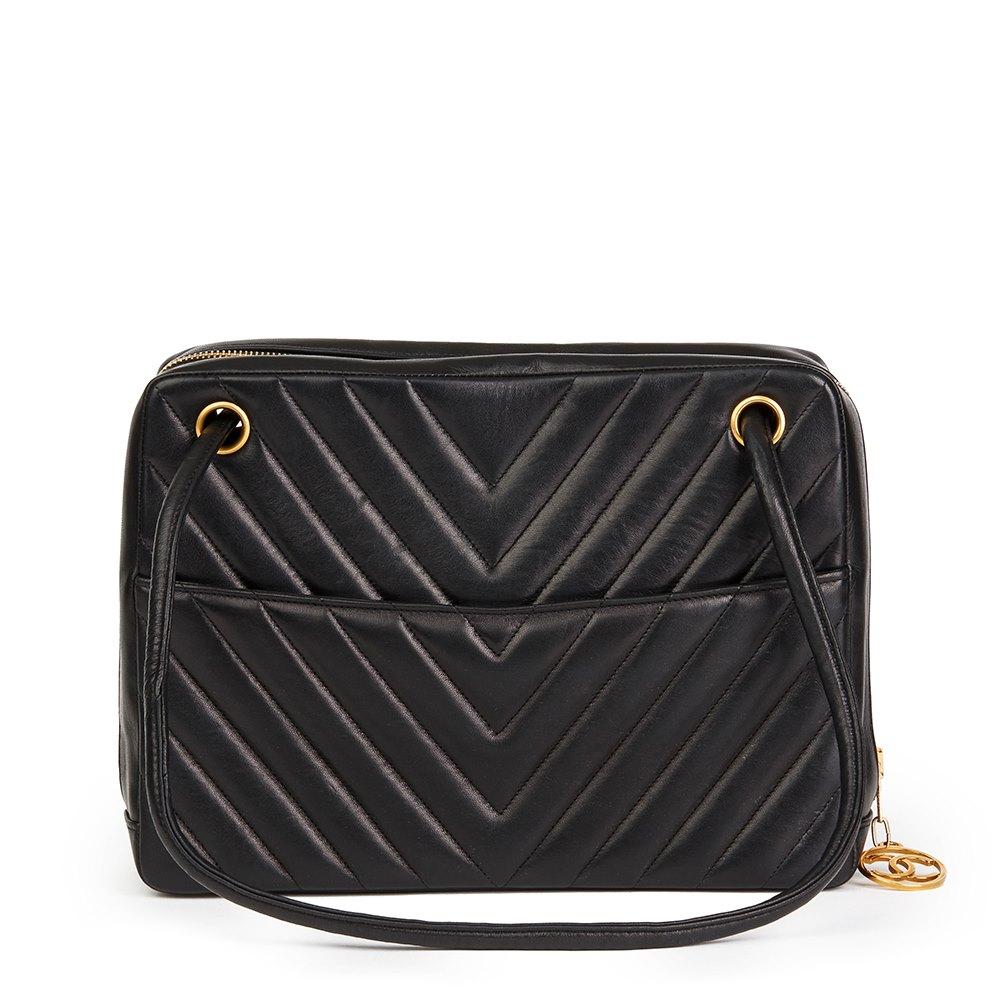 0e2b1f11be54 Chanel Black Chevron Quilted Lambskin Vintage Timeless Shoulder Bag