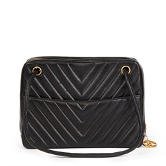 Chanel Black Chevron Quilted Lambskin Vintage Timeless Shoulder Bag