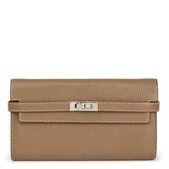 Hermès Etoupe Chevre Mysore Kelly Long Wallet