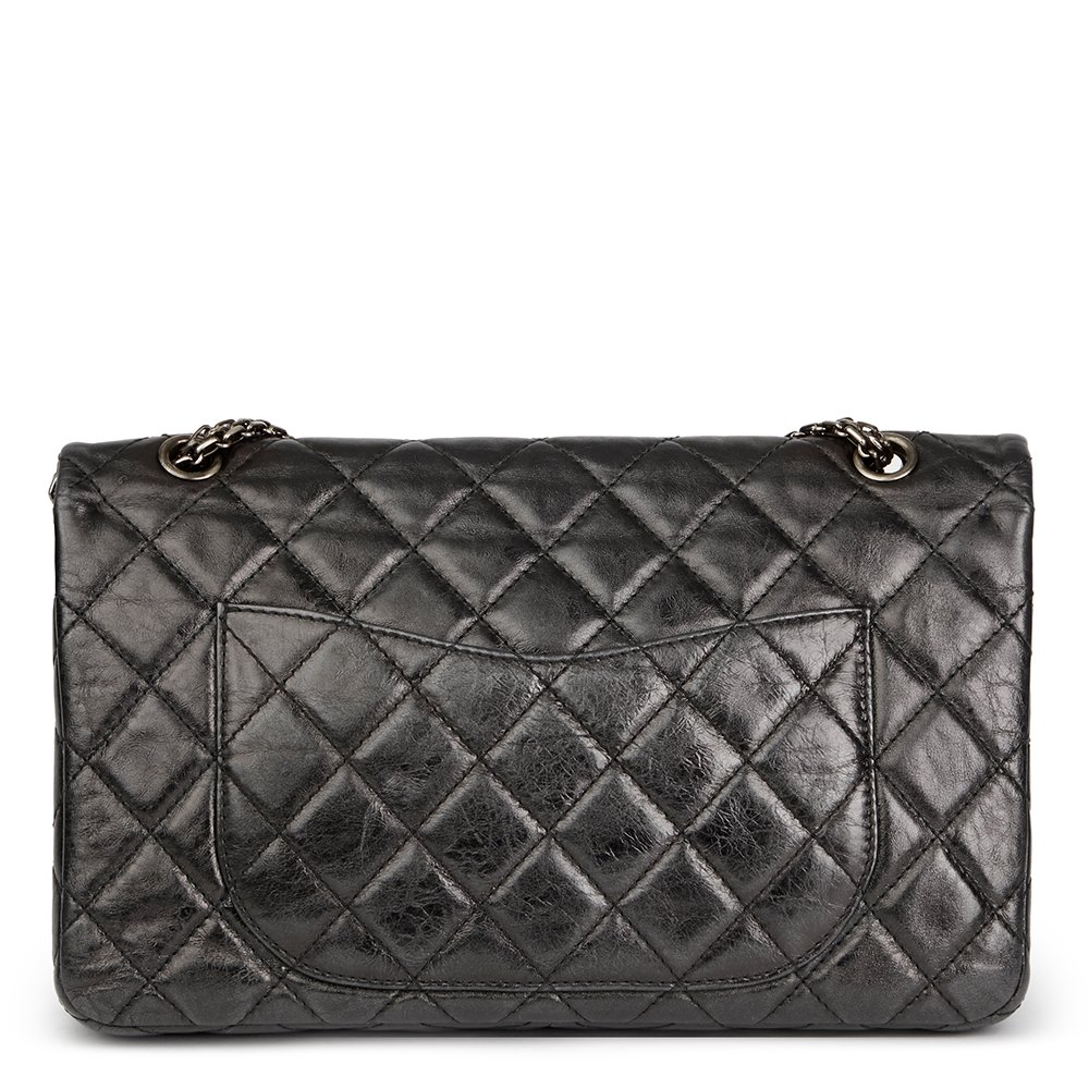 a53a8c7e4fac72 Chanel Black Quilted Metallic Aged Calfskin Leather 2.55 Reissue 227 Double  Flap Bag