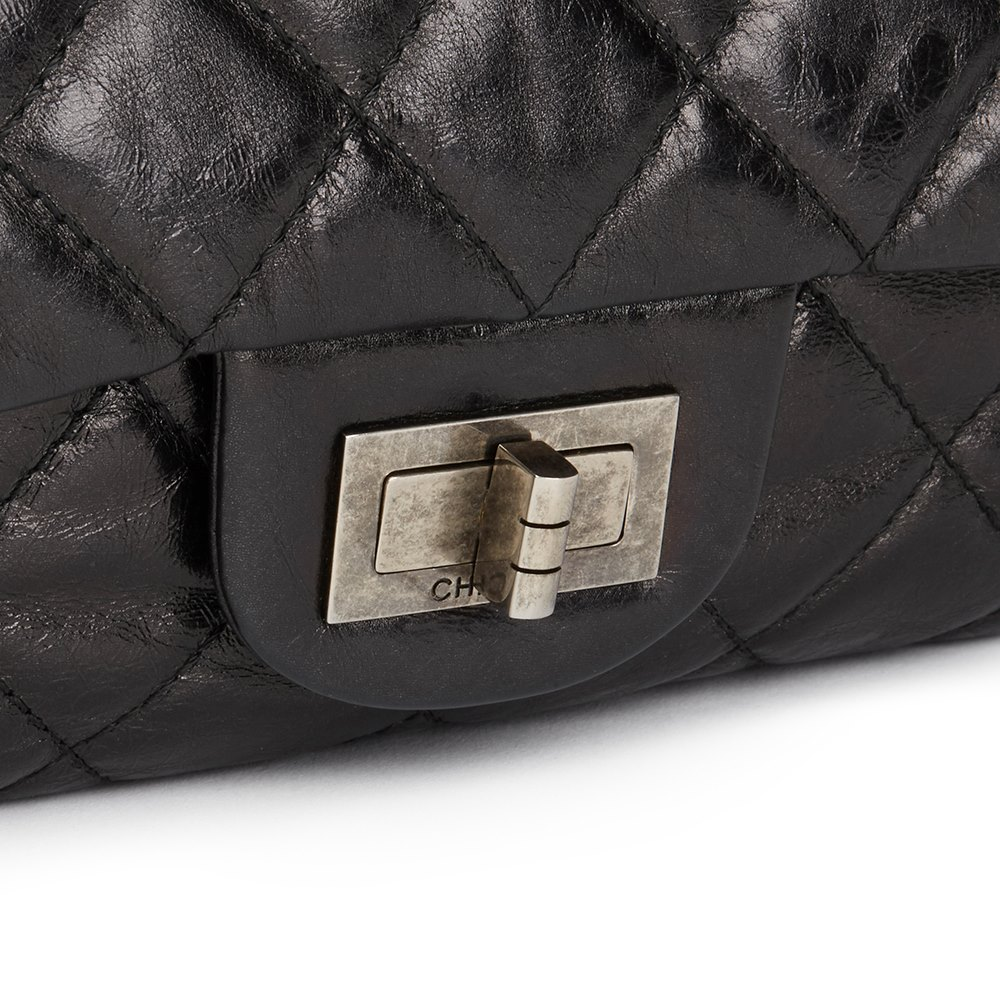 fba541566ea7de Chanel Black Quilted Metallic Aged Calfskin Leather 2.55 Reissue 227 Double Flap  Bag