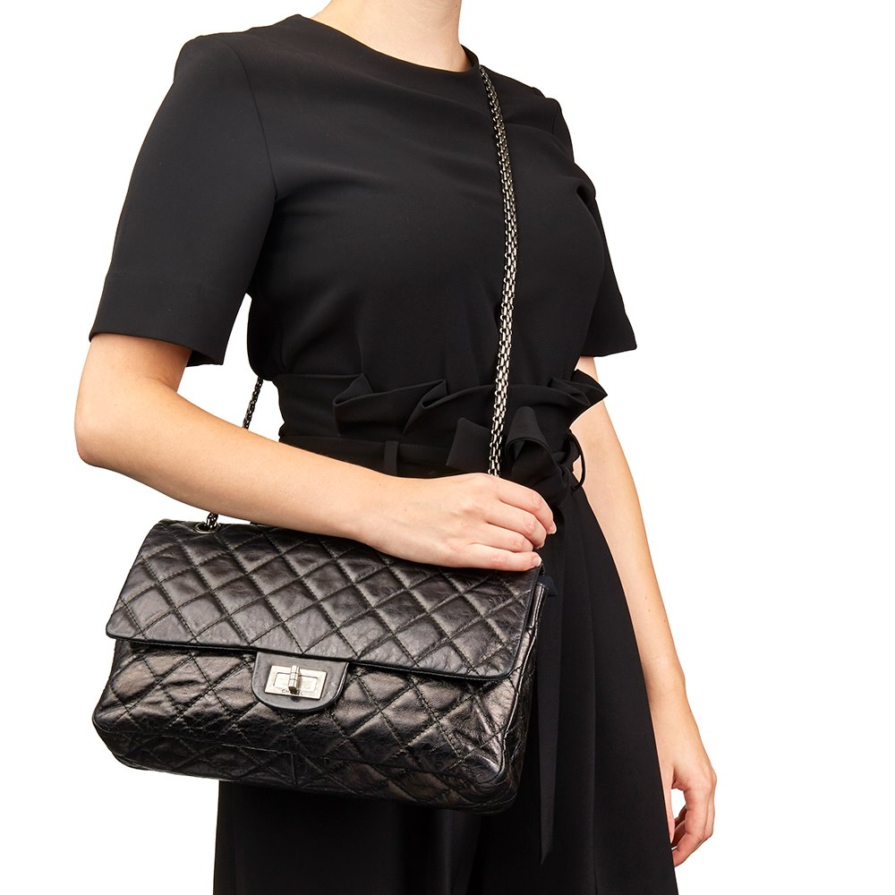 7dd78431c162 Chanel Black Quilted Metallic Aged Calfskin Leather 2.55 Reissue 227 Double  Flap Bag