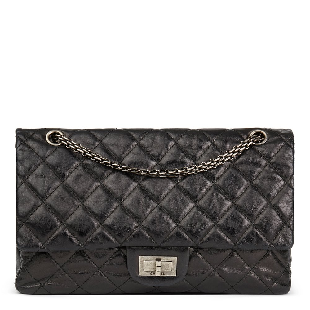 bc86f83bf437 Chanel Black Quilted Metallic Aged Calfskin Leather 2.55 Reissue 227 Double  Flap Bag
