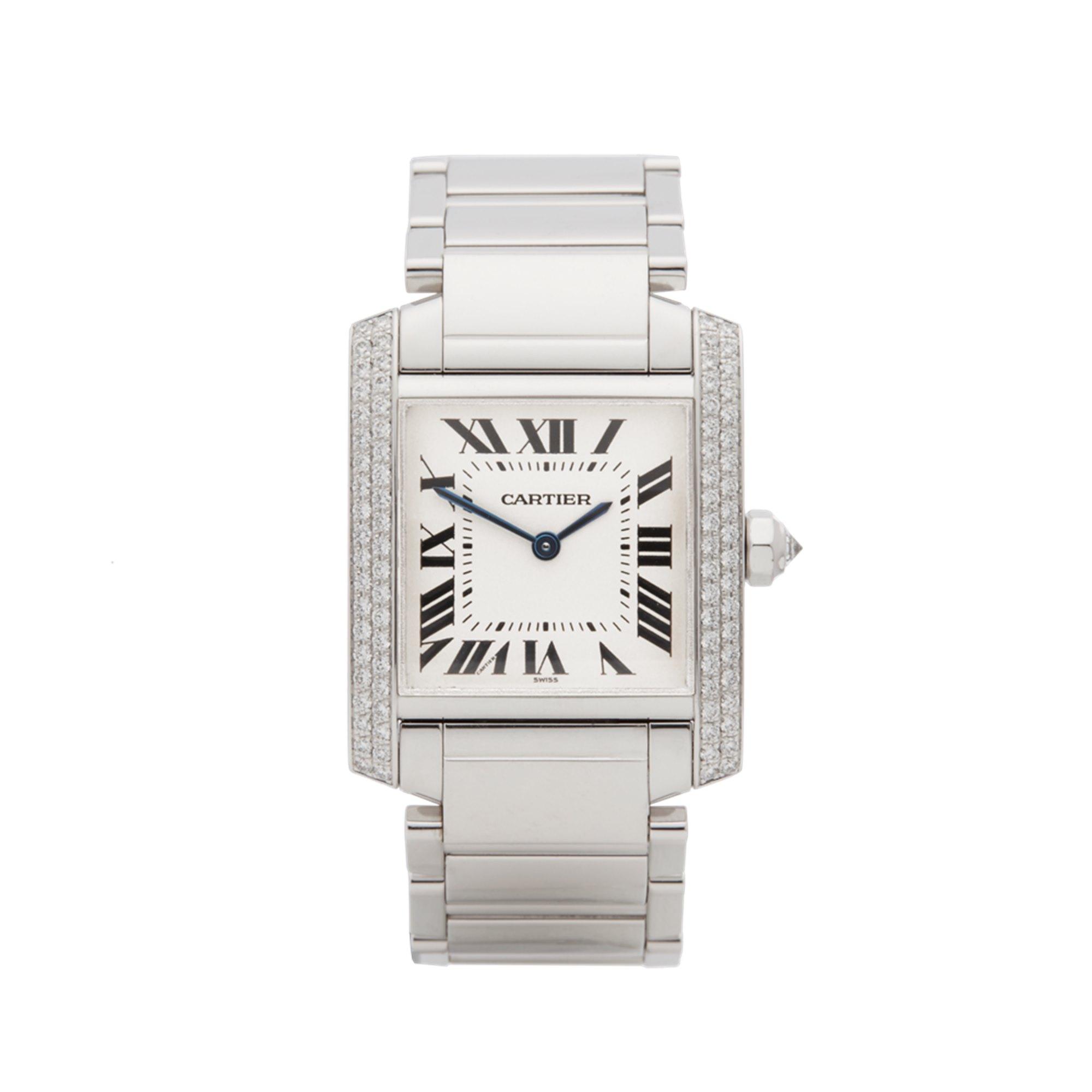 Cartier Tank Francaise Diamond 18K White Gold WE1009S3 or 2404MG