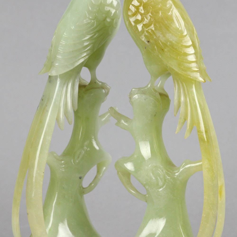 CHINESE CARVED JADE BIRDS Circa 1900