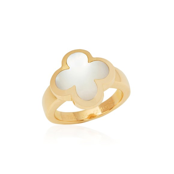 Van Cleef & Arpels 18k Yellow Gold Mother Of Pearl Pure Alhambra Ring