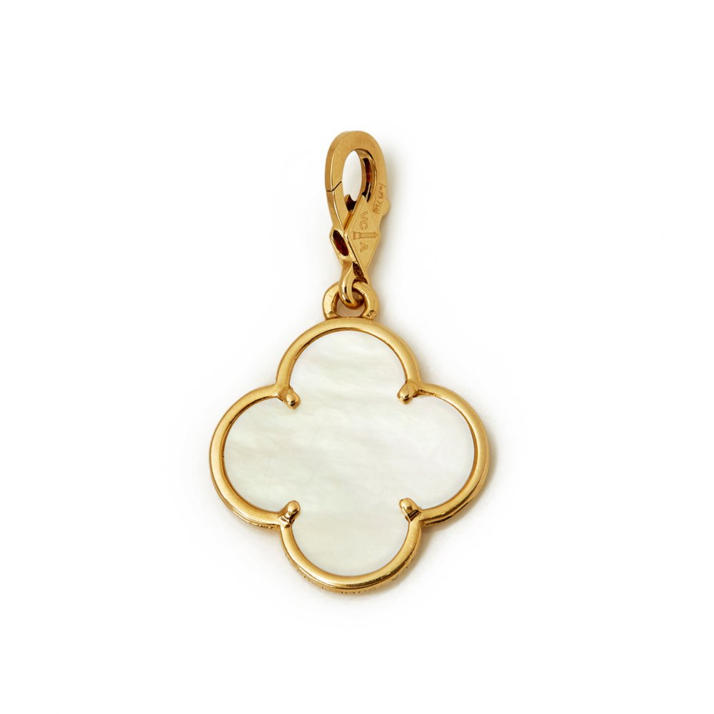 Van Cleef & Arpels 18k Yellow Gold Mother Of Pearl Pure Alhambra Charm