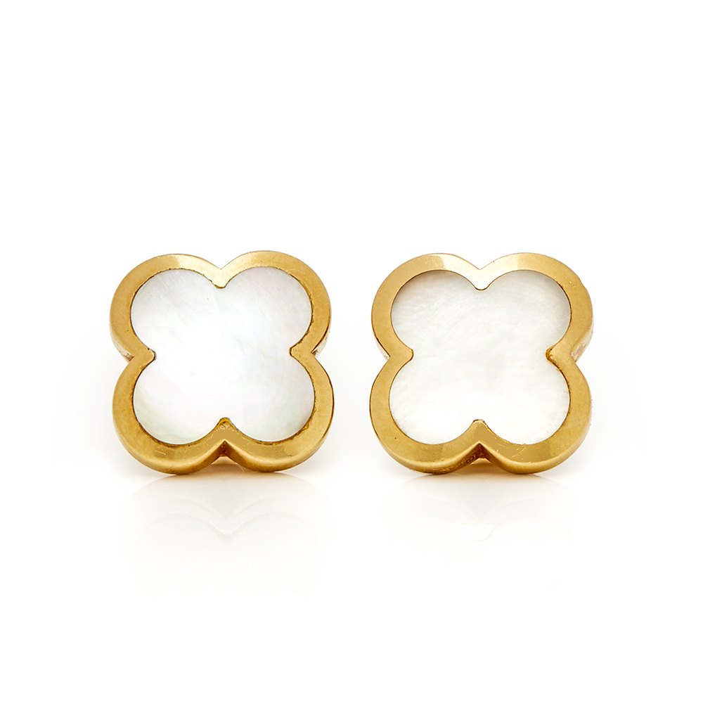 Van Cleef & Arpels 18k Yellow Gold Mother Of Pearl Pure Alhambra Stud Earrings