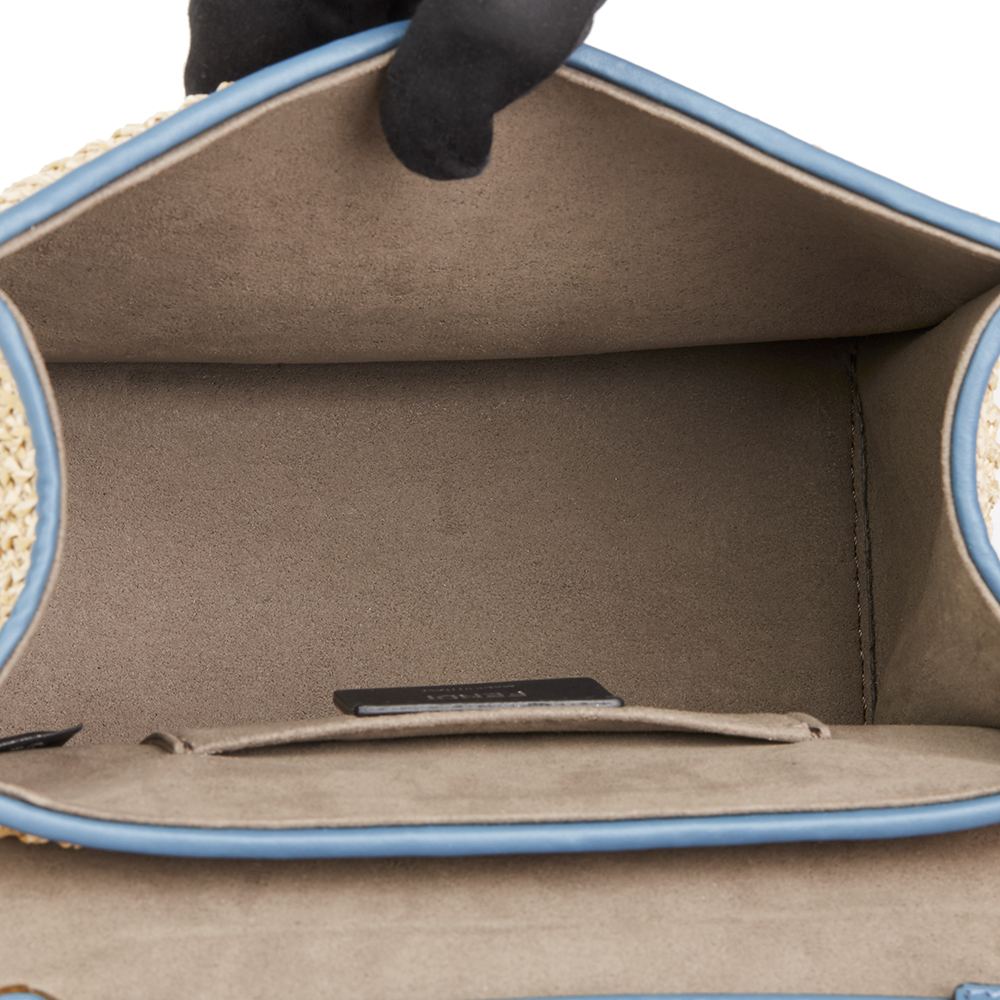 7f50480d956a FENDI BLUE CALFSKIN LEATHER   EMBROIDERED RAFFIA SMALL KAN I F ...