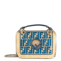 Fendi Blue Calfskin Leather & Embroidered Raffia Small Kan I F