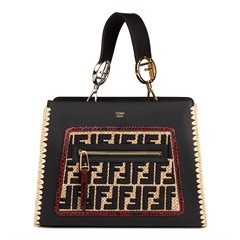 Fendi Black Calfskin Leather, Embroidered Raffia & Red Python Leather Small Runaway