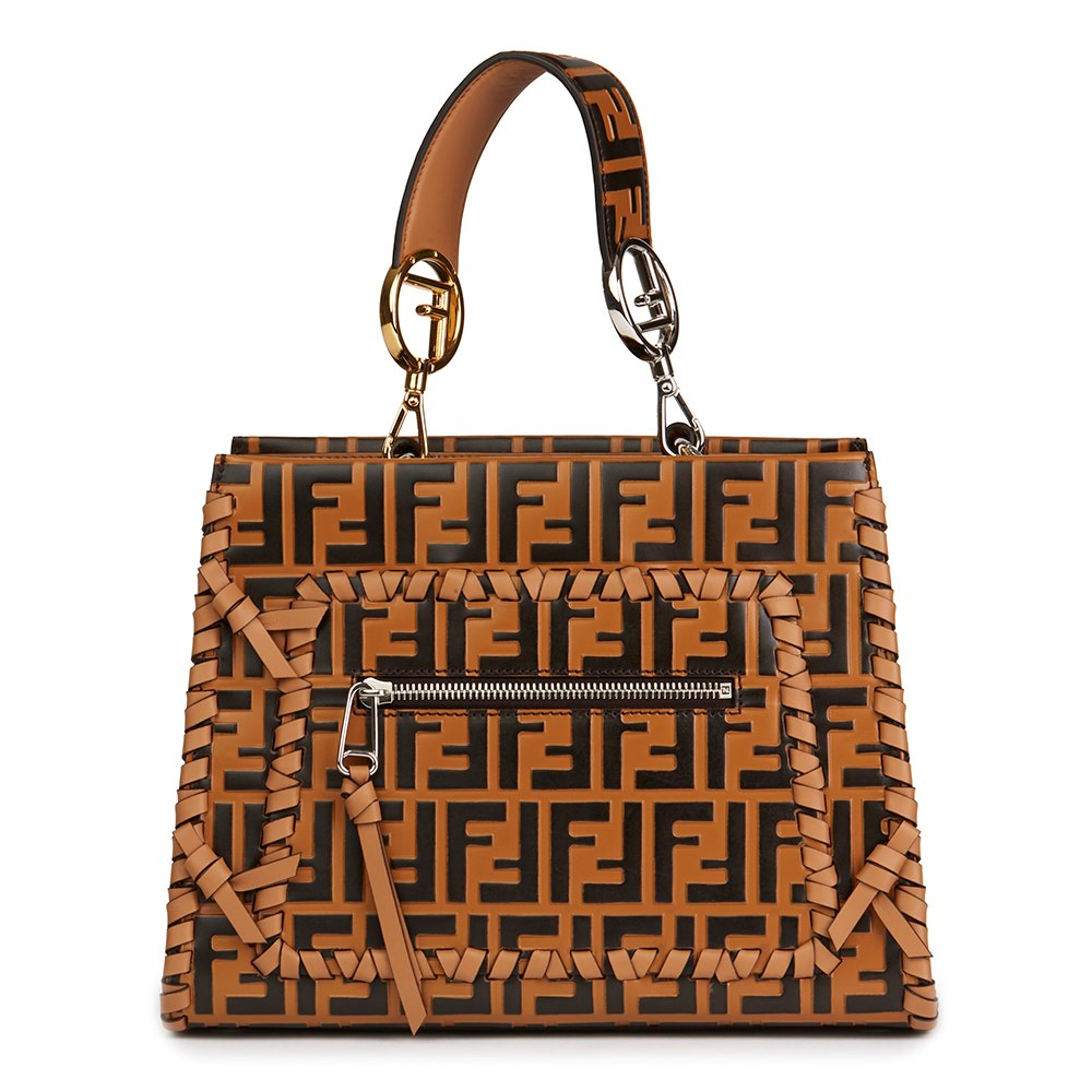 96f6d80a010 Fendi Brown Embossed Monogram Calfskin Leather Whipstitch Small Runaway