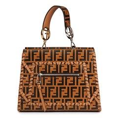 Fendi Brown Embossed Monogram Calfskin Leather Whipstitch Small Runaway