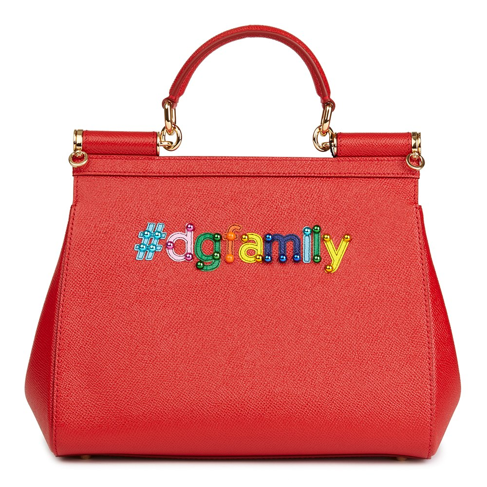 Dolce   Gabbana Red Beaded Dauphine Leather DG Family Patch Medium Sicily 271529fa877fc