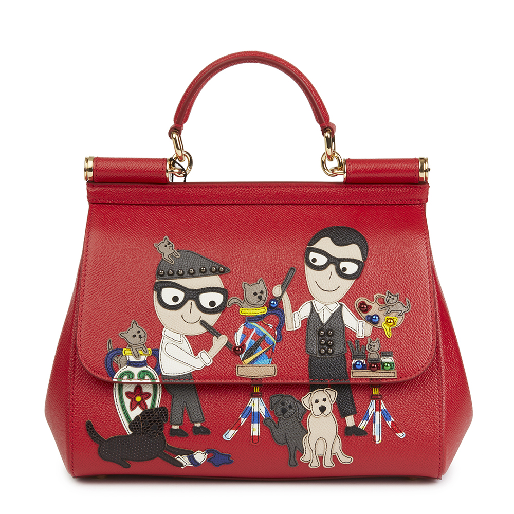 7940336a62f Dolce   Gabbana Red Beaded Dauphine Leather DG Family Patch Medium Sicily