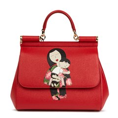 Dolce & Gabbana Red Dauphine Leather DG Family Patch Medium Sicily