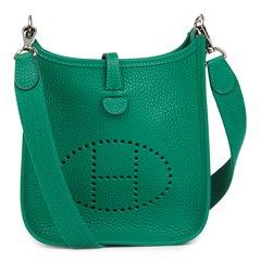 Hermès Vert Vertigo Clemence Leather Evelyne III TPM