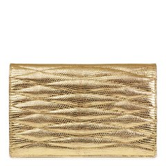 Chanel Metallic Gold Wave Quilted Lizard Leather Vintage Timeless Clutch