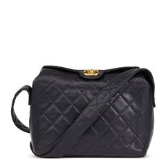 Chanel Navy Quilted Lambskin Vintage Classic Single Flap Bag