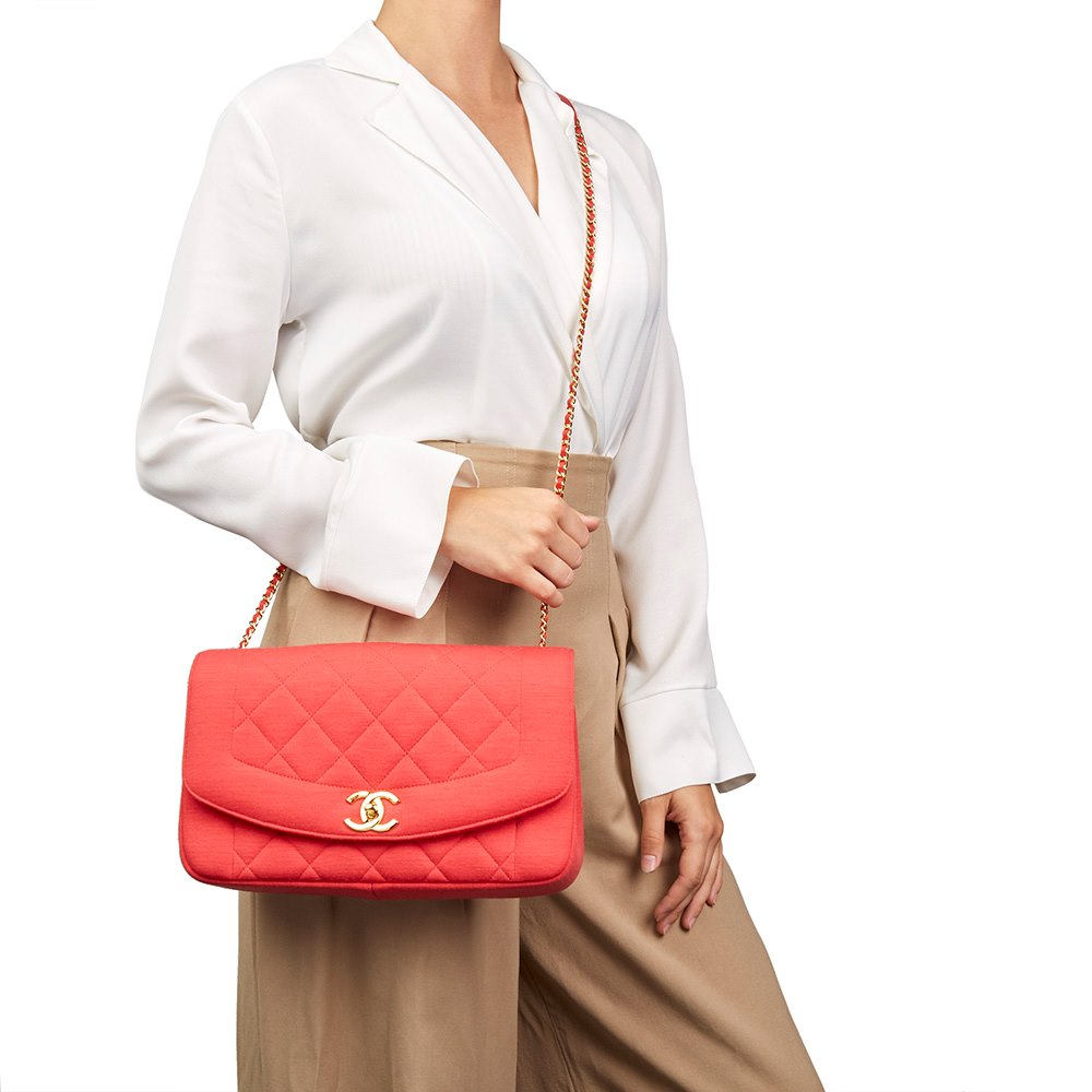 146293c66170 Chanel Coral Quilted Jersey Fabric Reissue Diana Classic Single Flap Bag