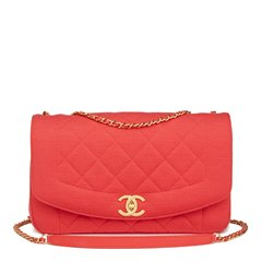 Chanel Coral Quilted Jersey Fabric Reissue Diana Classic Single Flap Bag