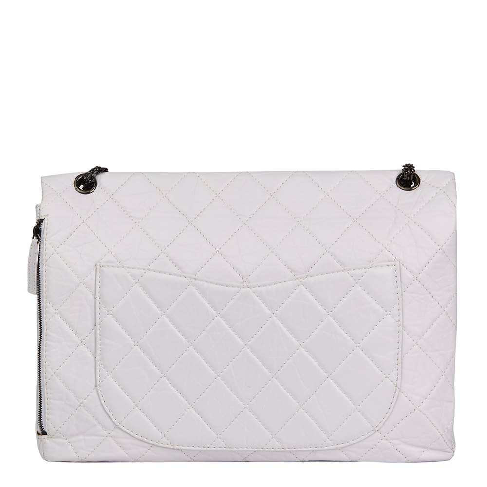 c92ef46bad81f3 Chanel Icy White Quilted Aged Calfskin Leather 2.55 Reissue 228 Flap Bag